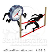 Vector Illustration of a Silhouetted Woman Racing Against the Clock, Sprinting Through a Finish Line by AtStockIllustration