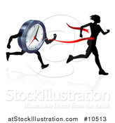Vector Illustration of a Silhouetted Woman Running Through a Finish Line Before a Clock Character by AtStockIllustration
