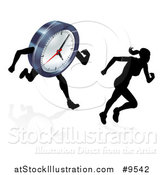 Vector Illustration of a Silhouetted Woman Sprinting Before a Clock Character by AtStockIllustration