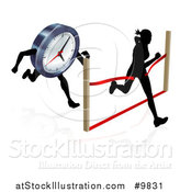 Vector Illustration of a Silhouetted Woman Sprinting Through a Finish Line Before a Clock Character by AtStockIllustration