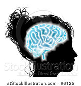 Vector Illustration of a Silhouetted Woman's Head with a Glowing Blue Brain by AtStockIllustration