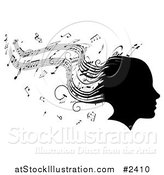 Vector Illustration of a Silhouetted Womans Head with Music Sheet Hair by AtStockIllustration