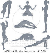 Vector Illustration of a Silhouetted Yoga Women Version 3 by AtStockIllustration