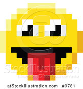 Vector Illustration of a Silly 8 Bit Video Game Style Emoji Smiley Face Sticking a Tongue out by AtStockIllustration