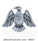 Vector Illustration of a Silver American Flag Bald Eagle with a Shield by AtStockIllustration