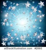 Vector Illustration of a Silver and Blue Star Burst Background by AtStockIllustration