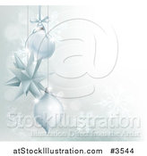 Vector Illustration of a Silver Christmas Background with 3d Ornaments and Snowflakes by AtStockIllustration