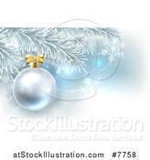 Vector Illustration of a Silver Christmas Bauble Ornament on a Tree over Blue and Snowflakes by AtStockIllustration