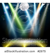 Vector Illustration of a Silver Disco Ball over a Dance Floor with Colorful Lights by AtStockIllustration