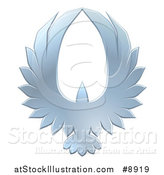 Vector Illustration of a Silver Eagle Forming an Oval with Its Wings by AtStockIllustration