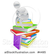 Vector Illustration of a Silver Person Thining Atop a Stack of Books by AtStockIllustration