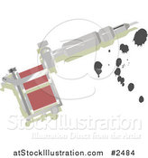 Vector Illustration of a Silver Tattoo Gun with Ink by AtStockIllustration