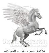 Vector Illustration of a Silver Winged Pegasus Horse Rearing by AtStockIllustration