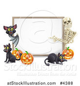 Vector Illustration of a Skeleton and Bat Pointing to a Halloween Sign with Black Cats and Pumpkins by AtStockIllustration