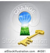 Vector Illustration of a Skeleton Key Under a Hole with Change Text by AtStockIllustration