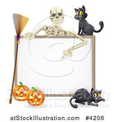 Vector Illustration of a Skeleton Pointing down to a Halloween Sign with Black Cats a Broomstick and Pumpkins by AtStockIllustration