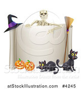 Vector Illustration of a Skeleton Pointing down to a Halloween Sign with Black Cats a Broomstick Witch Hat and and Pumpkins by AtStockIllustration