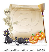 Vector Illustration of a Skeleton Pointing to a Halloween Scroll Sign with Black Cats a Broomstick and Pumpkins by AtStockIllustration