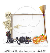 Vector Illustration of a Skeleton Pointing to a Halloween Sign with Black Cats a Broomstick and Pumpkins by AtStockIllustration
