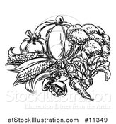 Vector Illustration of a Sketched Black and White Group of Vegetables by AtStockIllustration