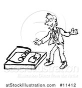 Vector Illustration of a Sketched Business Man Reaching for a Dollar in a Trap, in Black and White by AtStockIllustration