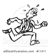 Vector Illustration of a Sketched Businessman Running, in Black and White by AtStockIllustration
