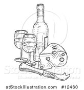 Vector Illustration of a Sketched Cheese Wedge with a Wine Bottle and Glasses by AtStockIllustration