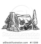 Vector Illustration of a Sketched Country Cottage House in Black and White by AtStockIllustration