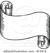 Vector Illustration of a Sketched or Etched Styled Black and White Scroll Banner by AtStockIllustration