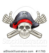Vector Illustration of a Skull and Crossbones Jolly Roger with a Pirate Hat and Thumbs up by AtStockIllustration