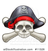 Vector Illustration of a Skull and Crossbones Jolly Roger with a Pirate Hat by AtStockIllustration