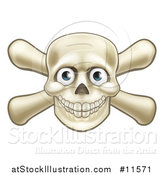 Vector Illustration of a Skull and Crossbones with Eyes by AtStockIllustration