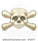 Vector Illustration of a Skull Missing a Lower Jaw and Crossbones by AtStockIllustration