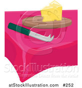 Vector Illustration of a Slice of Swiss Cheese and a Knife on a Table by AtStockIllustration