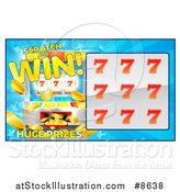Vector Illustration of a Slot Machine Lottery Instant Scratch and Win Scratchcard Design by AtStockIllustration