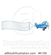 Vector Illustration of a Small Blue Airplane with a Trailing Blank Banner by AtStockIllustration