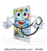 Vector Illustration of a Smart Phone Mascot Holding a Thumb up and Wearing a Stethoscope by AtStockIllustration