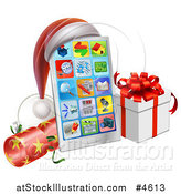 Vector Illustration of a Smart Phone with a Santa Hat, Christmas Cracker and Gift Box by AtStockIllustration
