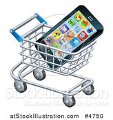 Vector Illustration of a Smartphone in a Shopping Cart by AtStockIllustration
