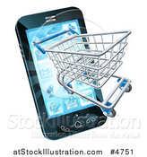 Vector Illustration of a Smartphone with a Shopping Cart Emerging from the Screen by AtStockIllustration