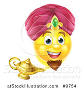 Vector Illustration of a Smiley Emoji Emoticon Genie Emerging from a Lamp by AtStockIllustration