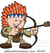 Vector Illustration of a Smiling Boy in a Native American Indian Costume of Leather and Feathers, Shooting an Arrow with a Cork on the Tip by AtStockIllustration