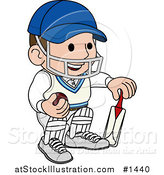 Vector Illustration of a Smiling Cricket Player with a Helmet, Ball and Bat by AtStockIllustration
