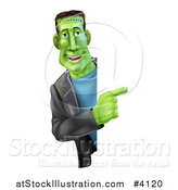 Vector Illustration of a Smiling Frankenstein Looking Around and Pointing to a Sign by AtStockIllustration