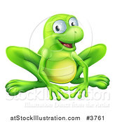 Vector Illustration of a Smiling Green Frog by AtStockIllustration