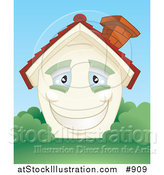 Vector Illustration of a Smiling Happy Blue Eyed Home with a Brick Chimney and Green Shutters, Surrounded by Lush Green Grass and Bushes by AtStockIllustration