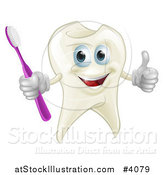 Vector Illustration of a Smiling Happy Tooth Mascot Holding a Thumb up and Toothbrush by AtStockIllustration