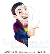 Vector Illustration of a Smiling Vampire Looking Around and Pointing to a Sign by AtStockIllustration