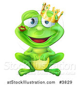 Vector Illustration of a Smitten Frog Prince with a Lipstick Kiss on His Cheek by AtStockIllustration