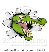 Vector Illustration of a Snapping Alligator or Crocodile Head Breaking Through a Wall by AtStockIllustration